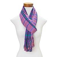 Rayon scarf, 'Sweet Grace' - Hand Woven Striped Rayon Wrap Scarf from Guatemala