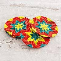 Cotton crocheted coasters, 'Vivid Starburst' (set of 6) - Vivid Colorful Starburst Cotton Crochet Coasters (Set of 6)