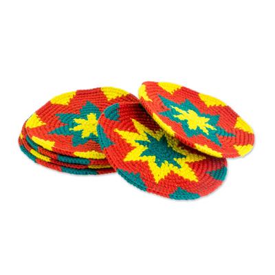 Vivid Colorful Starburst Cotton Crochet Coasters (Set of 6)