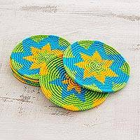 Cotton crocheted coasters, 'Colorful Starburst' (set of 6) - Bright Colorful Starburst Cotton Crochet Coasters (Set of 6)