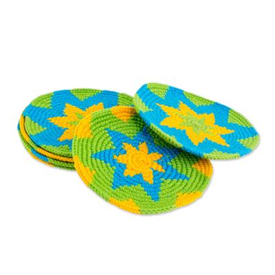 Bright Colorful Starburst Cotton Crochet Coasters (Set of 6)