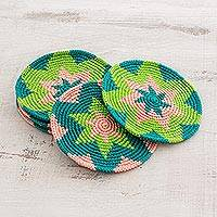 Cotton crocheted coasters, 'Ocean Starburst' (set of 6) - Green and Pink Starburst Cotton Crochet Coasters (Set of 6)