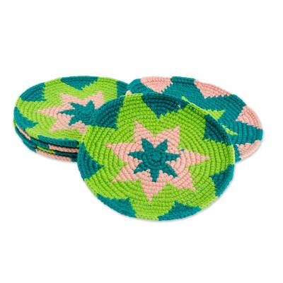 Green and Pink Starburst Cotton Crochet Coasters (Set of 6)