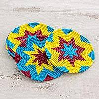 Cotton crocheted coasters, 'Festive Starburst' (set of 6) - Multi-Color Starburst Cotton Crochet Coasters (Set of 6)