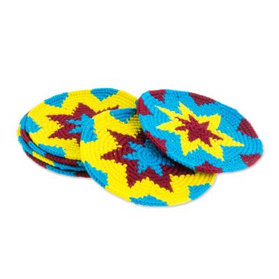 Multi-Color Starburst Cotton Crochet Coasters (Set of 6)