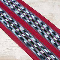 Cotton table runner, 'Road to Santa Cruz' - Hand Woven Cotton Table Runner from Guatemala