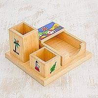 Wood desk organizer, 'Glimpses of El Salvador' - Pinewood Desk Organizer Hand Painted with El Salvador Scenes