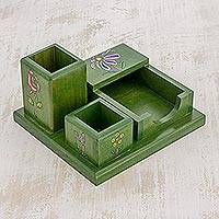 Wood desk organizer, 'Vivid Flowers in Green' - Green Pinewood Desk Organizer with Hand Painted Flowers