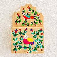 Wood key and letter holder, 'Cheery Birds' - Colorful Bird and Flowers Pinewood Letter and Key Holder