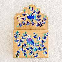 Wood key and letter holder, 'Cheery Birds in Blue' - Blue Purple Bird and Flowers Pinewood Letter and Key Holder