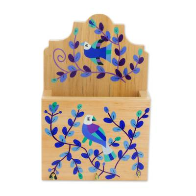Blue Purple Bird and Flowers Pinewood Letter and Key Holder