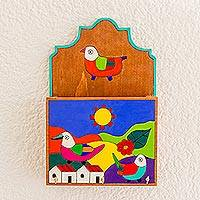 Wood key and letter holder, 'Soaring Birds' - Colorful Birds in Village Pinewood Letter and Key Holder