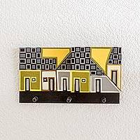 Wood letter and key holder, 'Sunlit Village' - Yellow and Grey Village Pinewood Letter and Key Holder