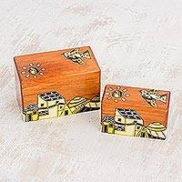 Wood mini decorative boxes, 'Over the Village' (pair) - Painted Birds Over Village Rectangular Pinewood Boxes (Pair)