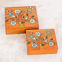 Wood decorative boxes, 'Glorious Tree' (pair) - Square Pinewood Flowering Tree Decorative Boxes (Pair)