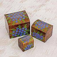 Wood decorative boxes, 'Garden Treasures' (set of 3) - Handcrafted Blue Floral Pinewood Decorative Boxes (Set of 3)
