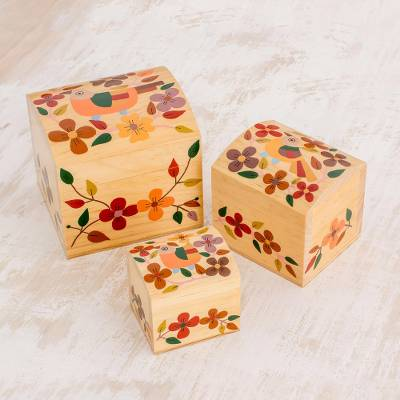 Wood mini decorative boxes, Songbird Treasures (set of 3)