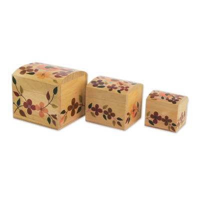 Colorful Floral Light Pinewood Decorative Boxes (Set of 3)