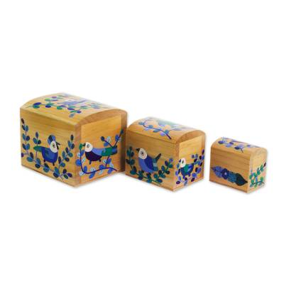 Blue Floral Birds Light Pinewood Decorative Boxes (Set of 3)