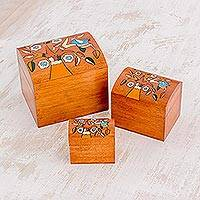 Wood decorative boxes, 'Lively Tree' (set of 3) - Pinewood Decorative Boxes with Bird and Tree Motifs (3)