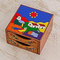 Wood jewelry box, 'Salvadoran Landscapes' - Colorful Pinewood Jewelry Box from El Salvador