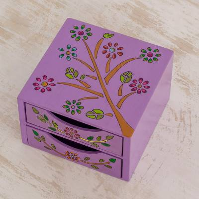 Wood jewelry chest, 'Natural Delicacy' - Floral Tree Pinewood Jewelry Ches in Purple from El Salvador