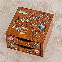 Wood jewelry box, 'Lively Tree' - Pinewood Jewelry Box with Bird and Tree Motifs