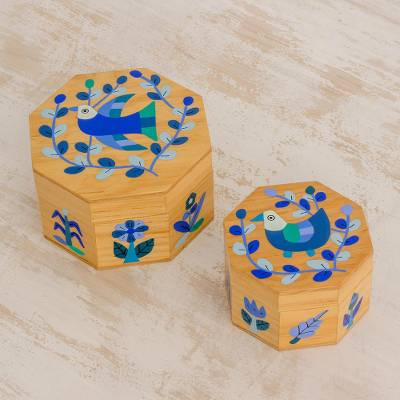 Wood decorative boxes, 'God's Nature in Blue' (pair) - Pair of Pinewood Decorative Boxes with Bird Motifs in Blue