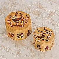 Wood decorative boxes, 'God's Nature in Brown' (pair) - Pair of Pinewood Decorative Boxes with Bird Motifs in Brown
