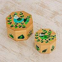 Wood decorative boxes, 'God's Nature in Green' (pair) - Pair of Pinewood Decorative Boxes with Bird Motifs in Green