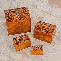 Wood decorative boxes, 'Salvadoran Lands' (set of 4) - Floral Bird Motif Pinewood Decorative Bowxes (Set of 4)