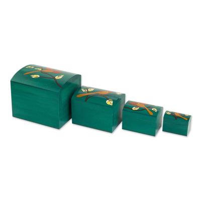 Bird Motifs Pinewood Decorative Boxes in Green (4)