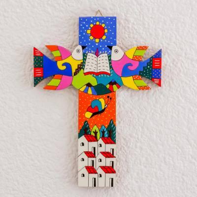 Wood wall cross, 'Sacred Book' - Hand-Painted Pinewood Wall Cross from El Salvador