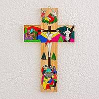 Wood wall cross, 'The Life of Jesus' - Hand-Painted Pinewood Wall Cross of Jesus from El Salvador