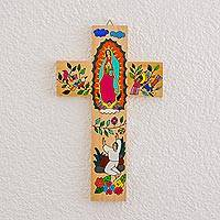Wood wall cross, 'Virgin of Guadalupe and Juan Diego' - Hand-Painted Pinewood Wall Cross of Mary from El Salvador