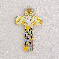 Wood wall cross, 'The Holy Spirit' - Pinewood Wall Cross of the Holy Spirit from El Salvador