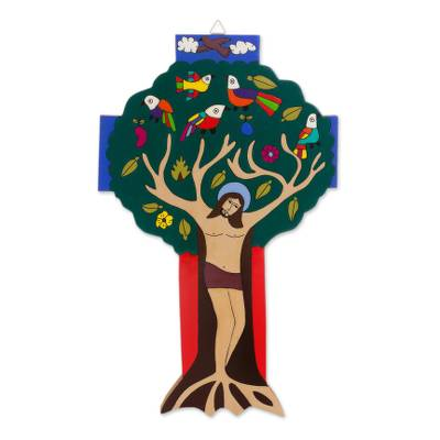 Tree-Themed Religious Pinewood Wall Cross from El Salvador