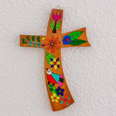 Wood wall cross, Birds and Flowers
