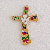 Wood wall cross, 'Beauty and Purity' - Hand-Painted Bird Motif Pinewood Wall Cross from El Salvador