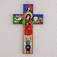 Wood wall cross, 'Birth of Jesus' - Hand-Painted Nativity Pinewood Wall Cross from El Salvador