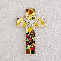 Wood wall cross, 'Bird of Hope' - Hand-Painted Pinewood Wall Cross with a Dove of Peace