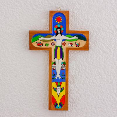 Hand Painted Pinewood Wall Cross Of Jesus From El Salvador