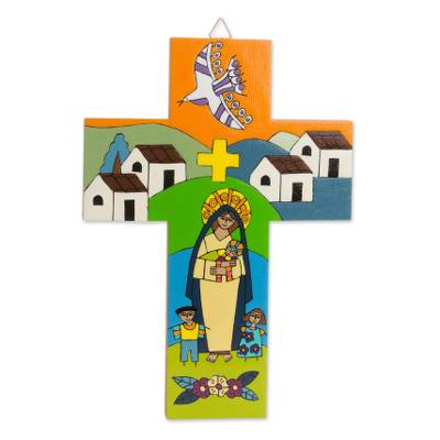 Hand-Painted Pinewood Wall Cross of Mary and Jesus