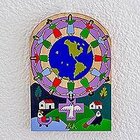 Wood wall art, 'Feminine Union' - Global-Themed Pinewood Wall Art from El Salvador