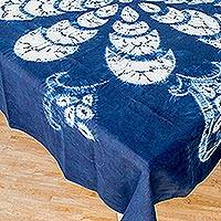 Batik cotton tablecloth, 'Flower of Paradise' - Floral Batik Cotton Table Cloth from El Salvador