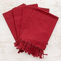 Cotton napkins, 'Claret Expanse' (set of 4) - Set of Four Cotton Napkins in Claret from Guatemala
