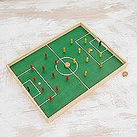 Pinewood game, 'Desktop Soccer' - Handcrafted Wood and Cork Desktop Soccer Game from Guatemala