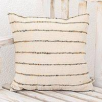 Wool cushion cover, 'Momostenango Paths' - Striped Patterned Wool Cushion Cover in Ivory from Guatemala