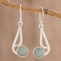 Jade dangle earrings, 'Mayan Wave in Apple Green' - Apple Green Jade Dangle Earrings from Guatemala