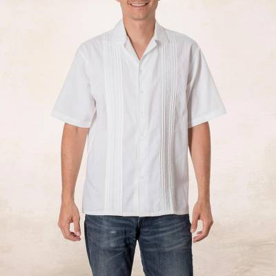 Mens cotton guayabera shirt, Salvadoran Beaches